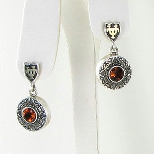 Arista E-11bc Ut U Of Texas Longhorns Earrings Citrine 925 18k Yg