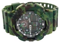 Army Military Camouflage Green Digital Time Watch Round Steel Back Shock Resist