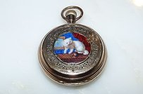 Art Deco 18kt Yellow Gold Enamel Cat Mother And Child Pocket Watch Pendant