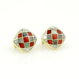 Aschgrossbardt 14k Ygold Diamonds Mother Of Pearl Coral Inlay Stud Earrings