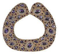 Atelier Azza Bronze Purple Glass Crystal Beaded Collar Statement Necklace