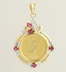 Australian Coin Pendant - 14k Yellow White Gold .9999 Coin Rubies .47ctw