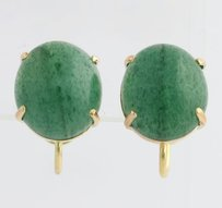 Other Aventurine Quartz Stud Earrings - 14k Yellow Gold Post Clip-on Womens Fine Oval