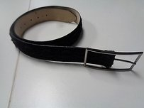 Other Avignon Black Textured Leather Belt W Silver Buckle B3042