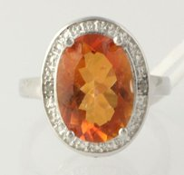 Azotic Topaz Cocktail Ring - Sterling Silver Diamonds Genuine 5.01ctw