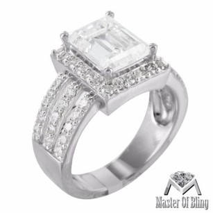 Baguette Womens Wedding Ring Simulated Diamonds Sterling Silver White Gold Tone