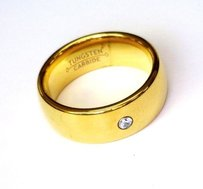 8mm Dome Gold Plated Cz Tungsten Carbide Ring Men Jewelry Wedding Band Unisex