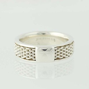 Solid Band Mesh Pattern Ring - Sterling Silver Band Espo