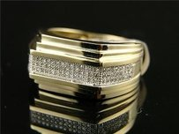Mens Full Pave 5 Row Diamond 13 Mm Wedding Band .50 Ct