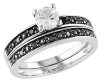 Sterling Silver 15 Ct Black Diamond And 58 Ct White Sapphire Bridal Set Ring