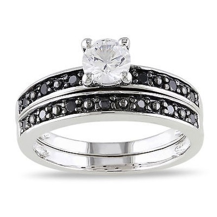 Other Sterling Silver 15 Ct Black Diamond And 58 Ct White Sapphire Bridal Set Ring