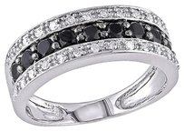 Other 14k White Gold 34 Ct Black And White Diamond Tw Fashion Ring Gh I1-i2
