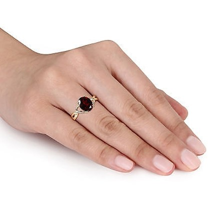Other 10k Yellow Gold Diamond And 3 Ct Tgw Garnet Crossover Fashion Ring Gh I2-i3