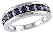 Other 10k White Gold 110 Ct Diamond 0.45 Ct Tgw Sapphire Fashion Ring Gh I1-i2