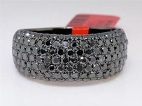 Mens Black On Black Pvd Diamond Round Cut Pave Wedding Band Ring Ct