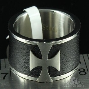 Stainless Steel Cross Ring Black White Consecration Mens Groom Band Causal