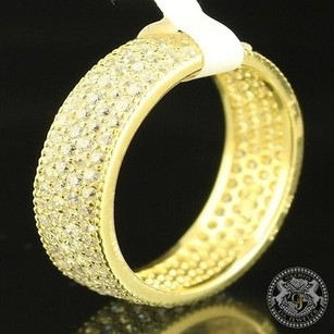 Unisex Lab Diamond 14k Gold On Real Silver Ring Wedding Eternity Thick Icy Band