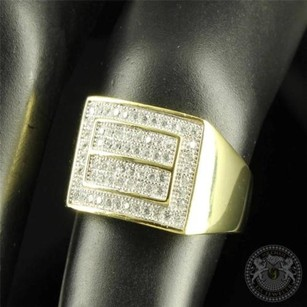 12mm Wide Designer Mens Pinky Ring Gold Finished Silver 925 Lab Diamond Band