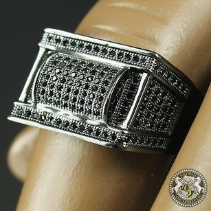 Mens Real Round Lab Diamond 14k Black Gold On Sterling Silver Square Ring Band