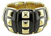 Sterling Silver Elastic Bangle Bracelet With Yellow Gold Plating Black Enamel 7