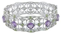 Other Sterling Silver Amethyst Peridot Diamond Geometri Bangle Bracelet 7