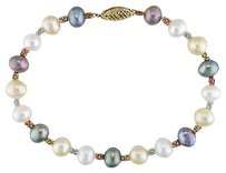 Other 14k Yellow Gold 6-6.5 Mm Freshwater Cultured Pearl Bangle Bracelet 7