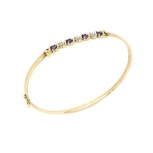 Bangle Yellow Gold Filled With Amethyst Stones 4.3 Grams Inches Womens