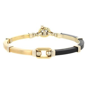 Baraka 18k Yellow Gold Black Rubber Unisex Bracelet