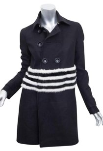 Other Dsquared Womens Mink Fur Trim Striped Long Jacket 426 Coat