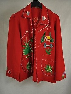 Lopez Red Embroidered Jacket Coat