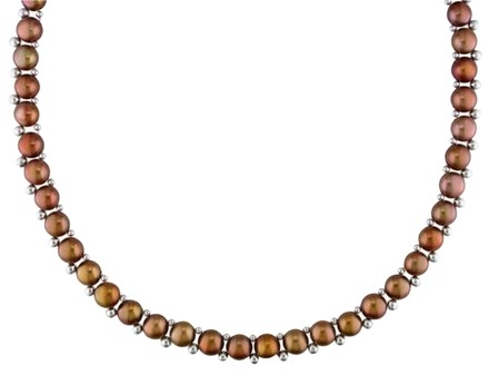 Other 6-7 Mm Freshwater Pearl Brown Button Necklace With 2 3 Mm Silver Beads