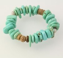 Beaded Bracelet - Dyed Turquoise Howlite Wood Beads Stretch Band Silver