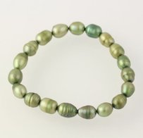 Beaded Bracelet - Ringed Dyed Green Freshwater Pearls Stretch Band Womens