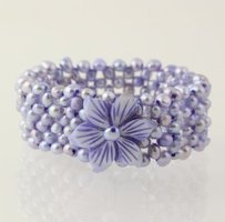 Other Beaded Flower Bracelet - Purple Mother Of Pearl Pearl Stretch Mesh Band