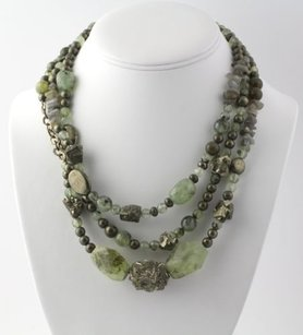 Other Beaded Green Gemstone Necklace - Sterling Silver Prehnite Pyrite Labradorite