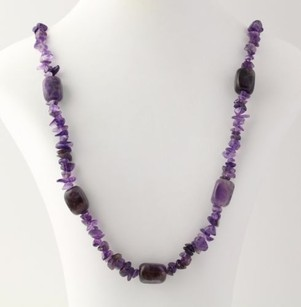 Beaded Necklace - Purple Amethyst Chunky Long Strand Sterling Silver Clasp