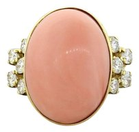 Beautiful Ladies Solid 18k Yellow Gold Pink Coral and Diamond Cocktail Ring