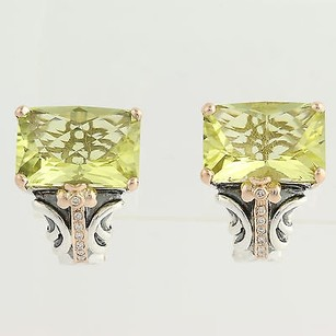 Other Bellarri Lemon Quartz Diamond Earrings-sterling Silver 18k Gold 17.24ctw