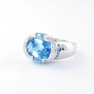 Other Bellarri Ring 0.11cts Diamonds 9.30cts Blue Topaz 18k White Gold