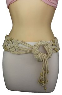 Women Fashion Wide Belt Wood Beads Ring Off White Cream Tie Hippe 80s