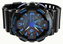 Black Blue Sports Watch Mens Outdoor Limited Ed. Shock Resistant Digital Analog