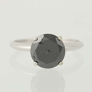 Other Black Diamond Solitaire Ring - 14k White Gold Engagement Color Enhanced 2.53ct