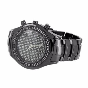 Black Finish Watch Designer Simulated Diamond Analog Jojo Jojino Look Steel Back
