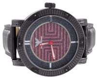 Black Ruby Red Iced Out Maze Dial Diamond King Rodeo Watch Real Leather Band