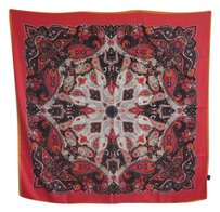 Other Black Square Silk Scarf 100% Silk Twill 100cm x 100cm Paisley Print