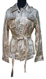 San Joy Gold Metallic Cotton Long Sleeve Button Front Lined Jacket 16809