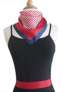 Other Blue Striped Square Silk Satin Scarf Nautical Neckerchief Handbag Tie