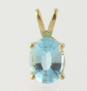 Blue Topaz Solitaire Pendant - Solid 14k Yellow Gold Oval Cut Womens 2.5ct