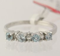 Other Blue Topaz White Topaz Cocktail Ring - 925 Sterling Silver Band Womens