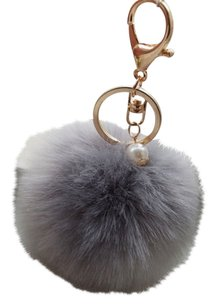 BNWOT Light Grey Fur Pom Pom Bag Charm